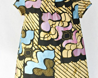 Pink and baby blue African Print  girls dress