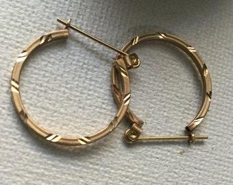 14K yellow gold hoop earrings      VJSE.