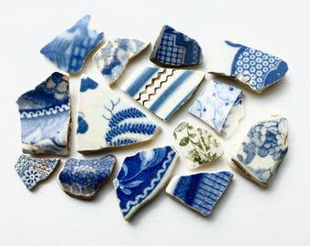 London Thames Sea Pottery, Ceramic Shards, Porcelain, Broken China, Set of 14