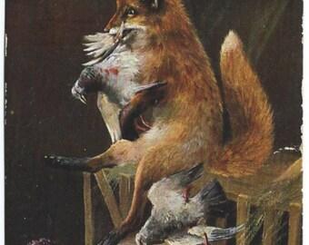 Fox in the Henhouse Postcard, Chickens, Antique Victorian 1908 Color Ephemera, FREE SHIPPING