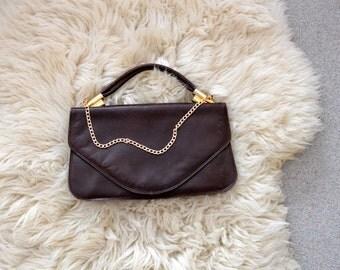 Vintage Purse Leather Bag Dark Brown Handbag 80s Coin Purse Vintage Fashion