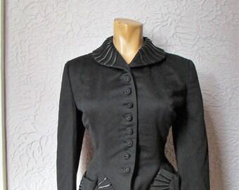 "40's/50's Vintage Curvy Fitted Blazer Jacket 30"" waist sm/med"