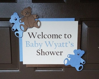 Blue & Brown Baby Shower or 1st Birthday Decorations, Vintage Teddy Bear Theme - Custom Door Sign - Choice of Colors