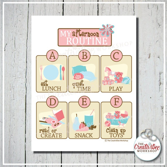 Afternoon Routine Chart | Pink | Printable Routine Chart | Printable Routine Chart | Digital File | Girl's Chart | Children's Routine