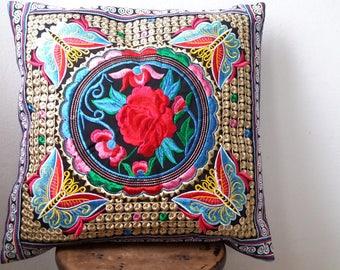 Hmong Thai Embroidered Hobo Boho Cushion Pillow Cover