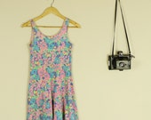 Floral Rainbow 90sFluro Baby Doll Dress Party 70s Flowers Festival AS IS