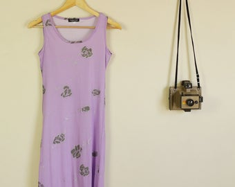 Vintage 90s Purple Dress with Silver and Grey Roses Grunge B