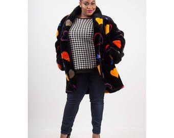 Vintage Donnybrook faux fur coat / 1980s heart print vegan fluffy cocoon coat / Club kid S M L