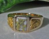 Gold Nugget Ring, Rustic 14k Gold Veined Quartz Ring, Gold in Quartz, Mens 14k Gold Nugget Wedding Ring, 14k Natural Gold Nugget Ring