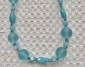 Pale Turquoise Sea Glass Beaded Necklace and Earrings