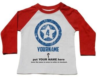 4th Birthday Shirt - Custom Superhero Birthday Tshirt - Use Any Number & Name - Personalized Superhero Shirt - Superhero Birthday Party Tee