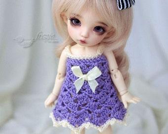 Purple-ecru crocheted dress for PukiFee, Lati Yellow