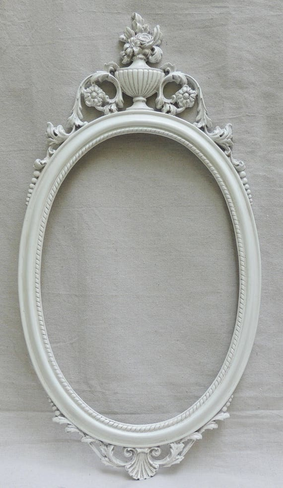 vintage 14x20 oval frame with urn ornate white oval mirror frame frame with urn and flowers cottage shabby chic frame vanity mirror from