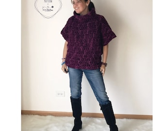Beginner Crochet Poncho Pattern, The Stella Sweater Crochet Pattern, Instant PDF Download