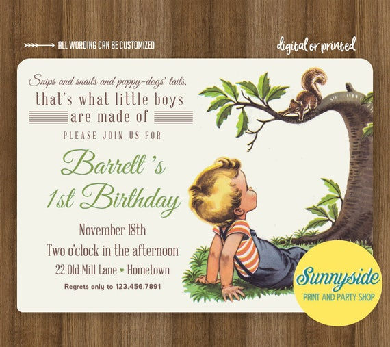 Boys Made of Birthday Invitation Frogs Snips Snails Puppy Dog