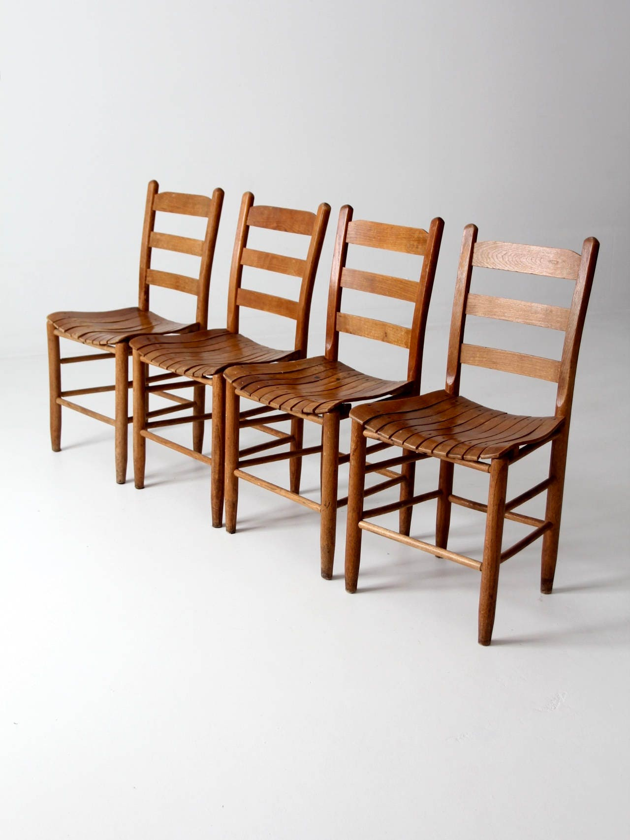 vintage wooden dining chairs slat wood seat chair set 4