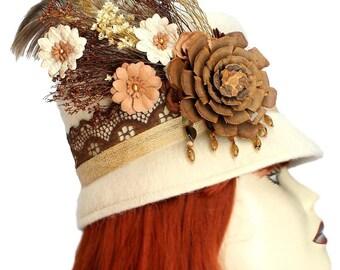 Woodland Cloche Hat Gypsy Garden Steampunk Wool Mohair Ivory Cream Vintage Henry Pollak Cosplay