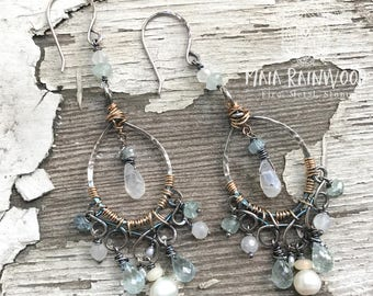 Aquamarine, rainbow moonstone, pearl and Ethiopian lotus petal chandelier earrings