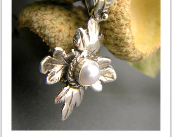Sterling Silver cross pearl pendant vine leaf Victorian style, Christening  romantic handmade religious necklace