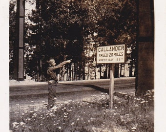 Welcome To Callander- 1920s Antique Photograph- Speed Limit Road Sign- Ontario, Canada- Found Photo- Vernacular Snapshot- Paper Ephemera