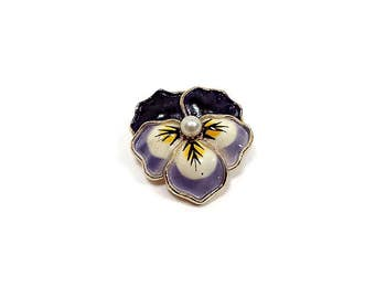 Small Purple Yellow Enameled Vintage Pansy Flower Brooch Pin Gold Tone Faux Pearl Retro Hippie Jewelry