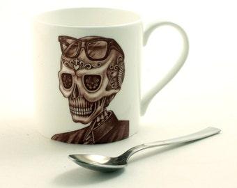 Sugar Skull Mug Fine Bone China Tea or Coffee White Day of the Dead Mexico Men Portrait Glasses Shirt  Halloween Birthday Present Gift