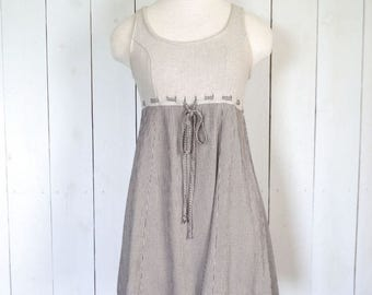 Vintage Babydoll Dress Early 90s Beige Black Houndstood Print All That Jazz Linen Blend Sleeveless Sun Dress Small