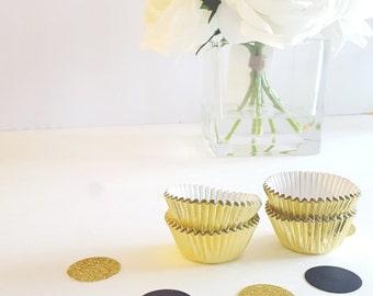 24 Silver Cupcake Papers: Metallic Cupcake Wrappers Bridal
