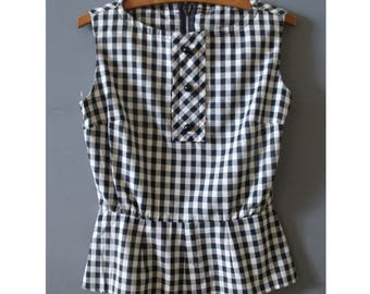 Simply Gingham Sleeveless Top ~ 50's Cotton Summer Blouse ~ Size: S