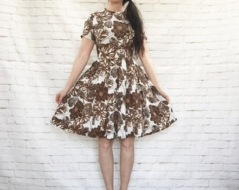 Vintage 60s Mod Pleated Floral Silk Crepe Dress S Brown Gray Pop Art