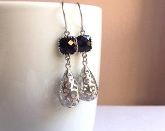 Silver Drop Earrings. Black Earrings. Silver Earrings. Bridesmaid Earrings. Bridesmaid Gift.Wedding Earrings.Bridal Jewelry.Mothers Day Gift