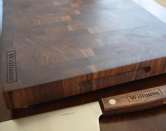 Personalized Walnut Cutting Board and Chef Knife Matching Set