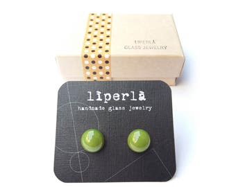 Forest Green Stud earrings, Forest green glass stud earrings, green fused glass earring studs, small green studs