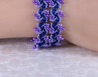 7.25 Inch Comfortable Bracelet - Beaded Cuff - Blue Pink Mauve - Bead Weave Bracelet - Flat Band - Seed Bead - Size Medium
