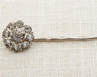 Silver Rhinestone Flower Hair Clip Embellished Bobby Pin   Handmade in USA Hair Pins 16V