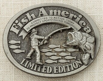 Fish America Belt Buckle Limited Edition Made In USA The Great American Buckle Co. Pewter Toned Vintage Belt Buckle 16B