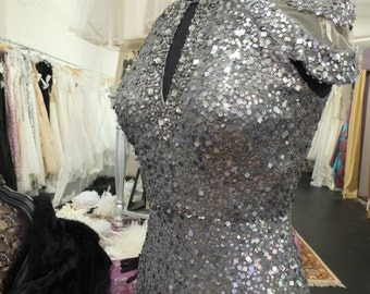 1930s 1920s inspired charcoal gray sequined evening gown wedding dress MOB dress