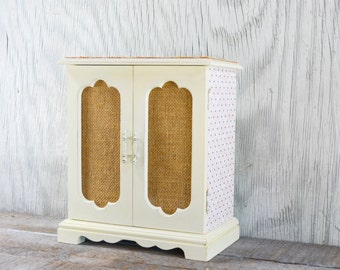 Painted Jewelry box with burlap and decoupaged papers, jewelry organizer, creamy buttermilk color chalk paint, wooden