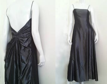 Silver Prom Dress Vintage 1990s Laundry Shelli Segal Slip Dress 4 Small Metallic Ball Gown Iridescent Open Back Bustle Minimalist Maxi Dress