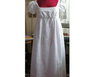 jane austen empire line  regency dress in embroidered ivory cotton lawn
