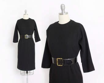 Vintage 1950s Dress - Black Wool Fitted Wiggle Day Dress 50s - Small
