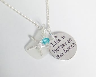 Life is better at the beach necklace - beach glass jewelry - beach necklace - sea glass necklace.