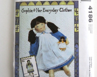 """2000s Stuffed Doll and Doll Clothes Pattern, McCalls 4186, 21"""" Doll, Doll Dress, Pinafore, Bloomers & Baby Doll Pattern, Face Transfer UNCUT"""
