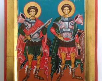 Saint George and Saint Demetrius,Romanian Byzantine Icon- Hand Painted Byzantine Icon Christian art Orthodox icon Gift for Godchild Baptisms