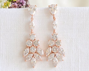 Rose Gold Bridal Earrings, Wedding Bridal Jewelry, Wedding Earrings, Crystal Cluster Dangle Drop Earrings, Flower Leaf Earrings, ODETTE