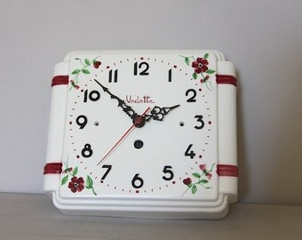 French Ironstone Kitchen Wall Clock, Vintage Porcelain Wall Clock, Shabby Chic Flowers