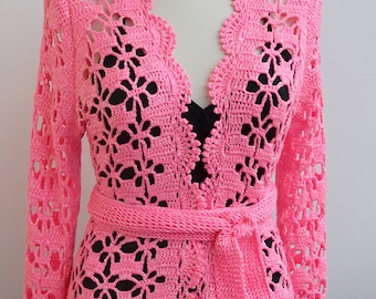 Crochet wedding bolero,Lace cardigan, Lace Wedding bolero, garden wedding, Bridal cover up, pink bolero, bridal shrug, Wedding dress topper