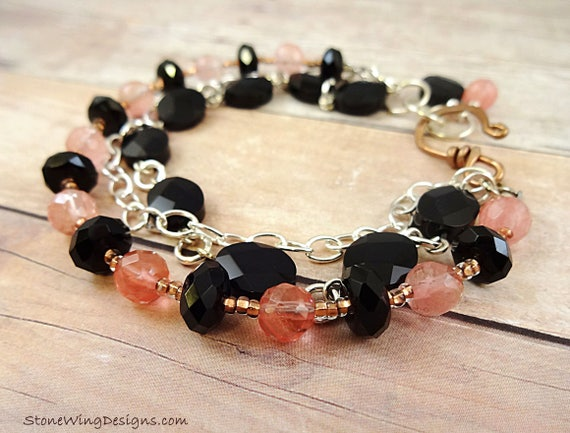 MultiStrand Black Onyx and Cherry Quartz Bracelet