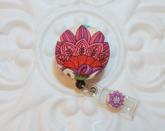 Retractable Badge Holder Id Reel  Fabric Covered Button  Purple And Pink