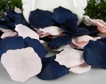 Pink and Blue Rose Petals | 200 Artificial Petals | Pink & Navy Wedding | Nautical Baby Shower - Tossing Petals - Silk Rose Petals